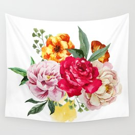 Watercolor Spring Flowers Wall Tapestry