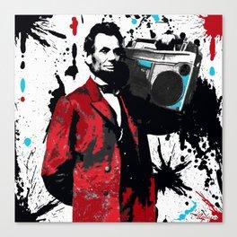 ABRAHAM LINCOLN INK SPLASH RED MAKE MUSIC NOT WAR Canvas Print