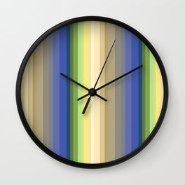 Multi-colored striped pattern . Wall Clock