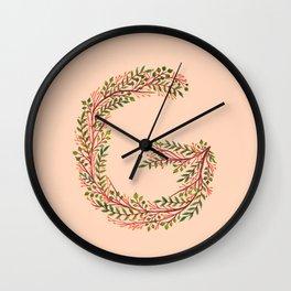 Leafy Letter G Wall Clock