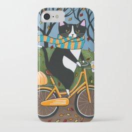 Tuxedo Cat Autumn Bicycle Ride iPhone Case