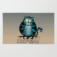 fat Area & Throw Rugs featuring Fat Cat by mangulica illustrations