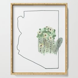 arizona // watercolor saguaro flower state flower map Serving Tray