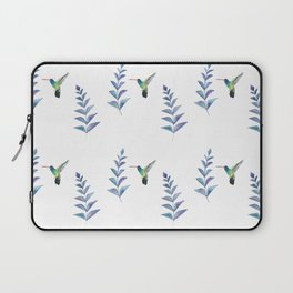Hummingbird with tropical leaves watercolor pattern Laptop Sleeve
