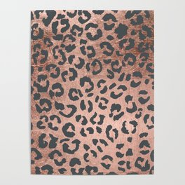 Modern charcoal grey rose gold leopard pattern Poster