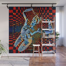0465-MM_4533 Op Art Nude Blue Striped Figure over Checkerboard Wall Mural