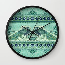 Peacocks Mosaic Wall Clock