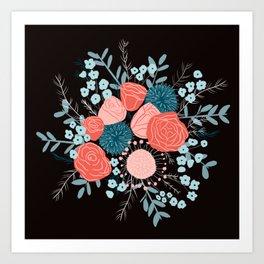 Flowers on black Art Print