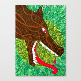 Embroided Wolf Canvas Print