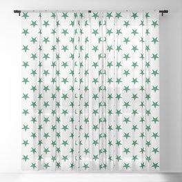 Cadmium Green on White Stars Sheer Curtain