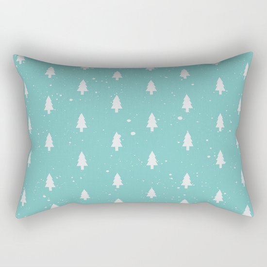 Christmas Trees Pattern Mint Rectangular Pillow
