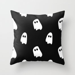 Black and White Ghosts Throw Pillow
