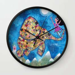 Missy and Elephant fly to the moon Wall Clock