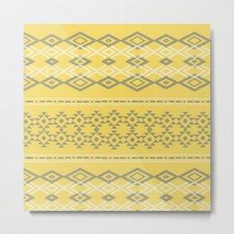Pantone Yellow Grey Tribal  Metal Print