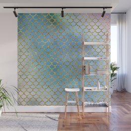 Luxurious Blues Mermaid Scale Pattern Wall Mural