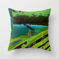 matisse Throw Pillows featuring Heron Matisse by Ellen Turner