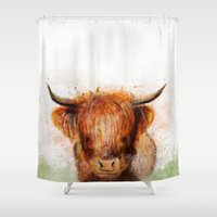cow Shower Curtains featuring Cow by emegi
