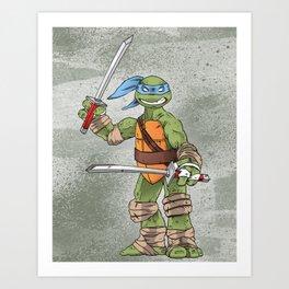 Leonardo TMNT Print - !TURTLE POWER! Art Print