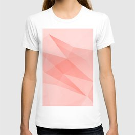 Pantone Living Coral Color of the Year 2019 on Abstract Geometric Shape Pattern T-shirt