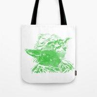 yoda Tote Bags featuring Yoda by DanielBergerDesign