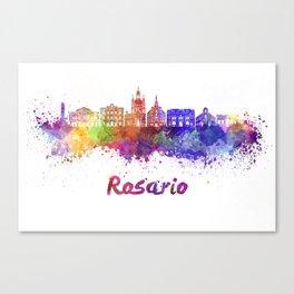 Rosario skyline in watercolor Canvas Print