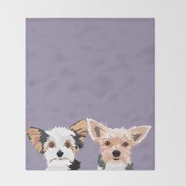 Two Yorkies Throw Blanket