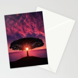 Purple Coastal Sunset with Lonely One Tree Hill color photograph / photography Stationery Cards