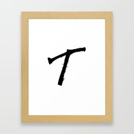 Letter T Ink Monogram Framed Art Print