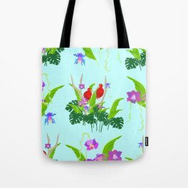 Scarlet ibis and orchids pattern Tote Bag