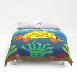 Stylize fantasy turtle under water Comforters