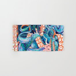 Vibrant Acrylic Octopus Painting - Live Fast, Die Young Hand & Bath Towel
