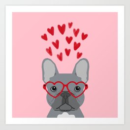 French Bulldog love valentines day heart glasses frenchie gifts Art Print