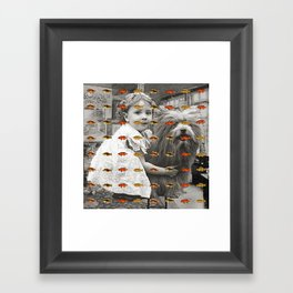 HIDING BEHIND THE FISH Framed Art Print