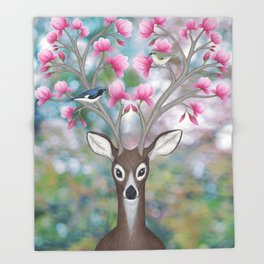 white tailed deer, black throated blue warblers, & magnolia blossoms Throw Blanket