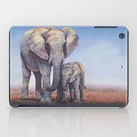 novelty iPad Cases featuring Elephants Mom Baby by Moody Muse