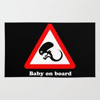 prometheus Area & Throw Rugs featuring Baby on board by dutyfreak