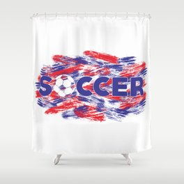 Soccer Red, White and Blue Shower Curtain