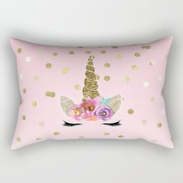 Floral Trendy Modern Unicorn Horn Gold Confetti Rectangular Pillow