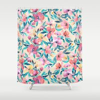 peach Shower Curtains featuring Peach Spring Floral in Watercolors by micklyn