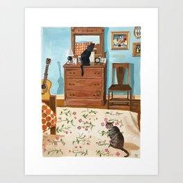 When the Cats are Home Alone Art Print