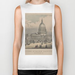 Vintage US Capitol Building Illustration (1872) Biker Tank