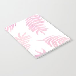 Pink Palm Leaves  |  White Background Notebook