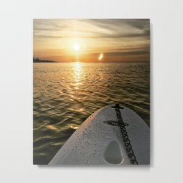 Paddle Board Sunset Metal Print