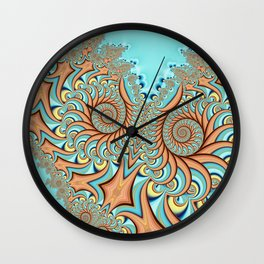 Owl Fractal Turquoise and Orange Wall Clock