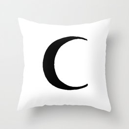 Black Crescent Moon Throw Pillow