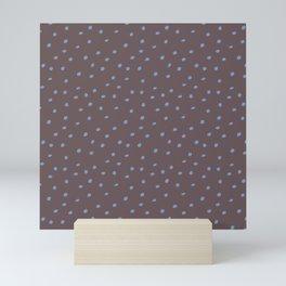 Mudcloth Polka Dots in Mud + Dusty Blue Mini Art Print