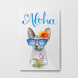 Aloha Cat // watercolor sphyx cat on holiday Metal Print
