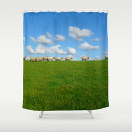 Landscape with sheeps Shower Curtain