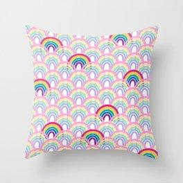 Rainbow scales Throw Pillow