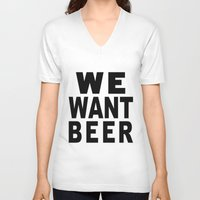 beer V-neck T-shirts featuring Beer by Meche A